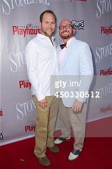 "Mick and Spats at The Pasadena Playhouse celebrating the opening of ""Stoneface"""
